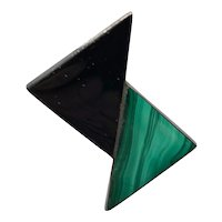Thoroughly Modern Malachite and Onyx  Sterling Earrings
