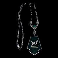 Art Deco Enamel Horse Pendant Necklace