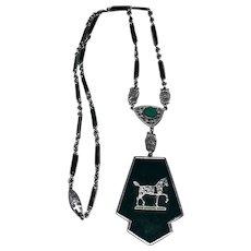 Vintage Enamel Horse Pendant Necklace