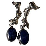 Unusual Sterling Lapis Lazuli Earrings