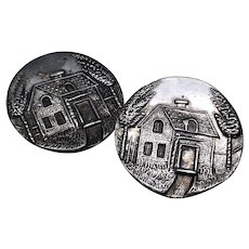 "Two Antique Victorian Metal Picture Buttons Cottage Scene 1"" Diameter"