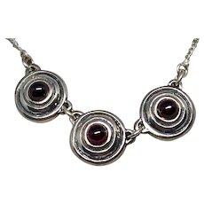 Vintage Sterling 3-Circle Garnet Chain Necklace