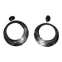 Navajo Tim Kee Whitman Signed Hoop Earrings