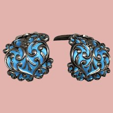 Vintage Pair Robin's Egg Blue Enamel and Sterling Dress Fur Clips