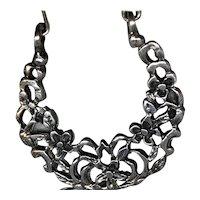Large Silver Hoop Floral-motif Earrings