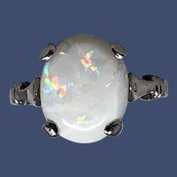 Opal Solitaire Ring: 14k White Gold Size 6 1/2