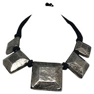 Vintage Silver and Black High Fashion Statement Necklace