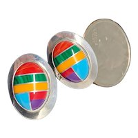 Sterling Multi-color Inlay Oval  Studs