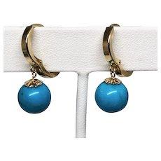 14k Earrings with Turquoise Bead (Sleeping Beauty) Drop