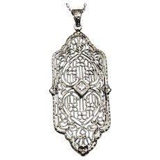Art Deco Diamond White Gold Necklace