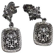 Art Deco 14K White Gold Diamond Earrings