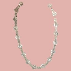 Unusual 1950s Cut Crystal Multi-size Beads on Sterling Chain