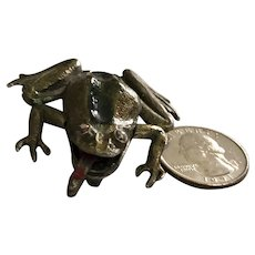 Vintage Cast Brass Enamel Frog with Red Tongue Brooch