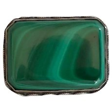 Fabulously Veined Malachite Sterling Brooch/Pin