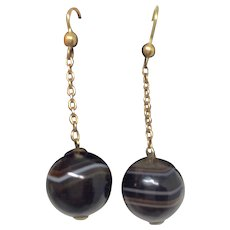 Antique Victorian Banded Agate Drop Earrings