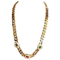 Vintage Signed Christian Dior Gemstone Cable Link Necklace