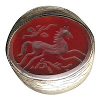 Antique Silver Afghan Natural Carnelian Hand-carved Horse Ring