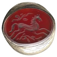 Antique Silver Afghan 100% Natural Carnelian Hand-carved Horse Ring