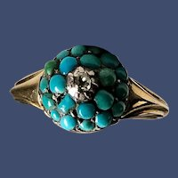 Antique Persian Turquoise Dome Ring