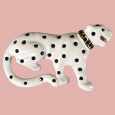 White Enamel and Rhinestone Panther Brooch