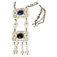 Signed Florenza Enamel Gold Long Chunky Necklace