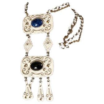 Vintage Florenza Enamel Gold Long Chunky Necklace