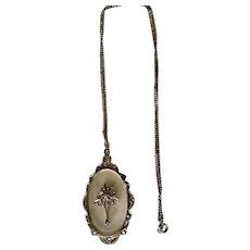 Vintage Art Deco Filigree Camphor Glass Pendant