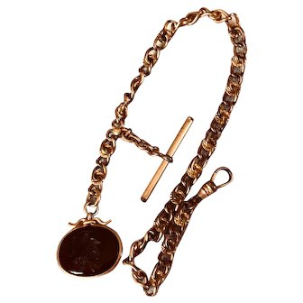 Victorian Gold Filled Watch Chain and Carnelian Intaglio Fob