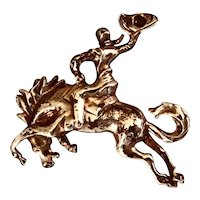 1940s Sterling Silver Cowboy and Horse Brooch