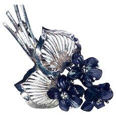 Vintage 935 Sterling Silver Carved Amethyst Violets Bouquet