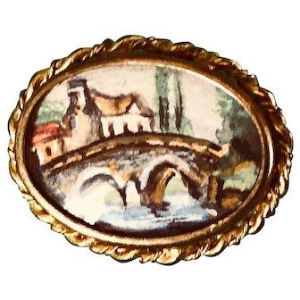 Vintage, Possibly Antique, Landscape Painting - Wearable Art