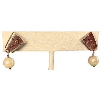 Vintage Sterling and Fine Pearl Earrings