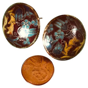 Vintage Quality Old Cloisonne Asian Earrings