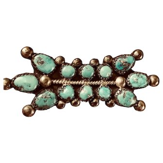 Old  Pawn Turquoise and Silver Brooch
