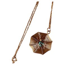 Antique 9K Gold Spider and Web Necklace on 14K Gold Chain