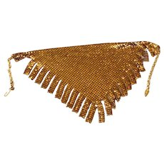 Vintage 1970s Whiting and Davis Gold Chain Mesh Necklace or Bib-Scarf with Fringe