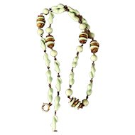 1920 to 1940s Mint Green Twisted Bead Necklace