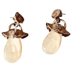 Vintage Signed Designer Sterling and Mother-of-Pearl Drop Earrings