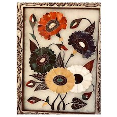 Vintage Pietra Dura on White Stone