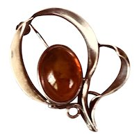 Vintage Sterling and Amber Flower Brooch
