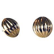 14K Gold  Puffy Stud Earrings