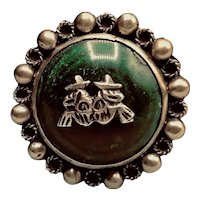 Vintage Mexican Silver Green Stone Brooch