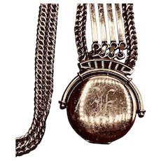 Antique Gold-filled Watch Chain, Fob, Locket Fob Necklace