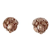 Stylish Neutral Silver Taupe Enamel Earrings