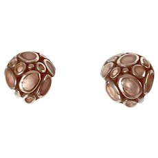 Fabulous Silver Taupe Enamel Earrings