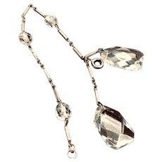 Art Deco Clear Crystal and Fancy Silver Bracelet