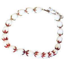 1950s Signed Book Piece Trifari White Red Enamelled Necklace