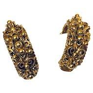 1960s Florenza Etruscan Clip Earrings
