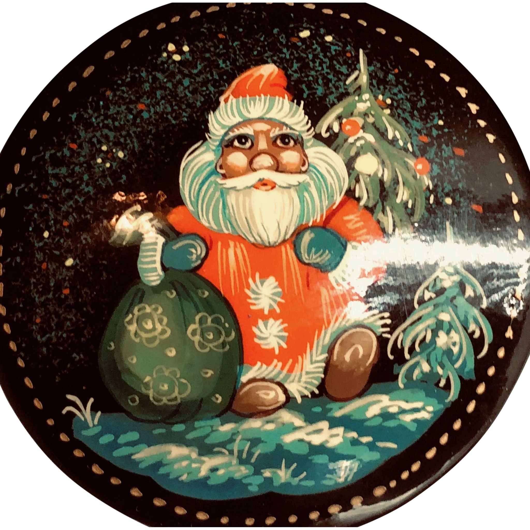 Hand Painted Santa riding on a sled  Vintage pin hand made in Russia