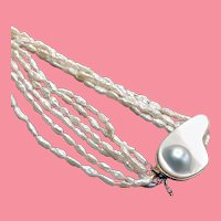 Freshwater Cultured Pearl Multi-strand Long Necklace with Fabulous Catch